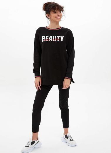 DeFacto Baskılı Uzun Sweatshirt Siyah